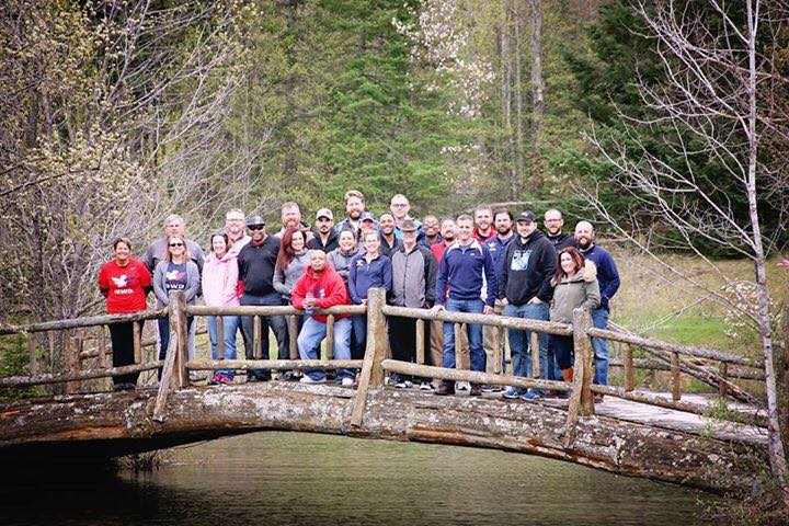 David stands with the students of the Team RWB storytelling camp in Gaylord, Michigan during May 2016. Photo courtesy of David Chrisinger.