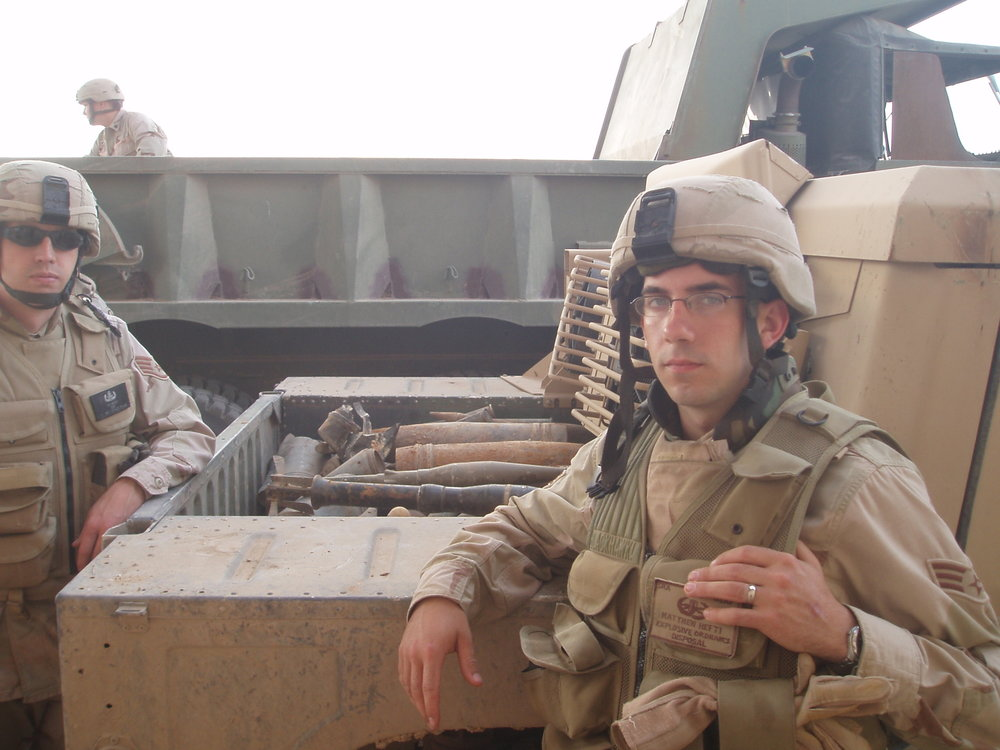 Matthew Hefti and Evan Knight in Iraq in 2005.   Photo courtesy of Matthew Hefti.