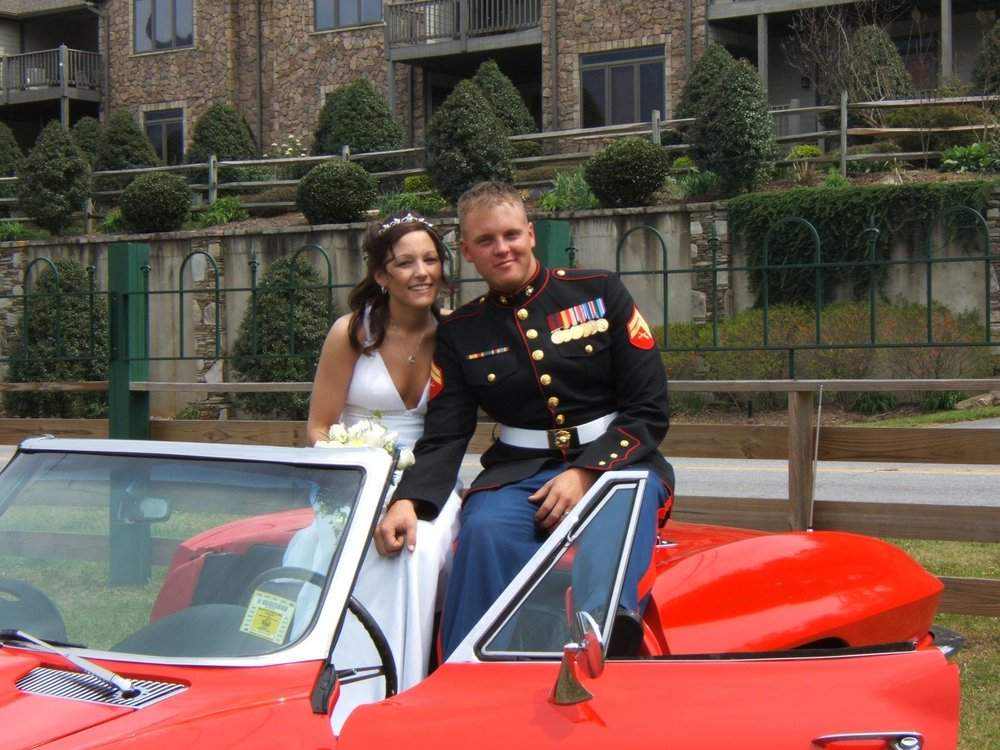 Thomas and his wife Melinda married in Lake Lure, North Carolina shortly after his first deployment to Iraq from 2004 to 2005. Photo courtesy of Thomas Brennan.