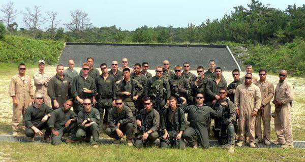 Gerardo Mena stands with his Marine Reconnaissance platoon while on active duty. Photo courtesy of Gerardo Mena.