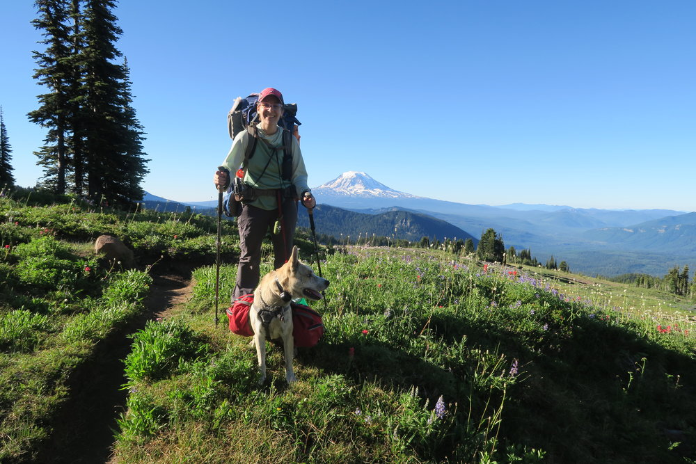 Tenley and Elu backpacking in the Goat Rocks Wilderness of southern Washington in 2016. Photo courtesy of Tenley Lozano.