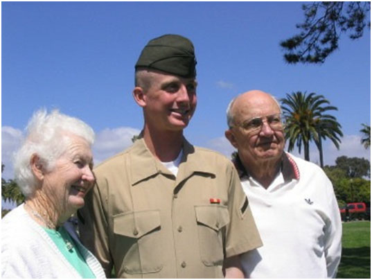 Robert stands with his grandparents, John and Patricia, during Family Day at MCRD – San Diego for boot camp graduation. Photograph courtesy of Robert Lucier.