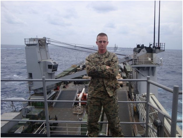 Robert stands aboard the USS Harper's Ferry flanked by all the ships of the 7th Fleet. Photograph courtesy of Robert Lucier.