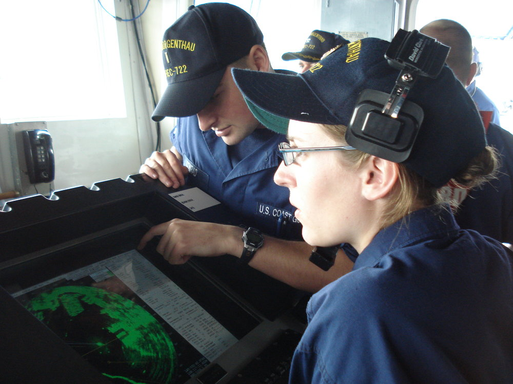 Cadet Tenley Barna stands on the Bridge of the USCGC Morgenthau assigned to radar watch in 2007. Photo courtesy of Tenley Lozano.