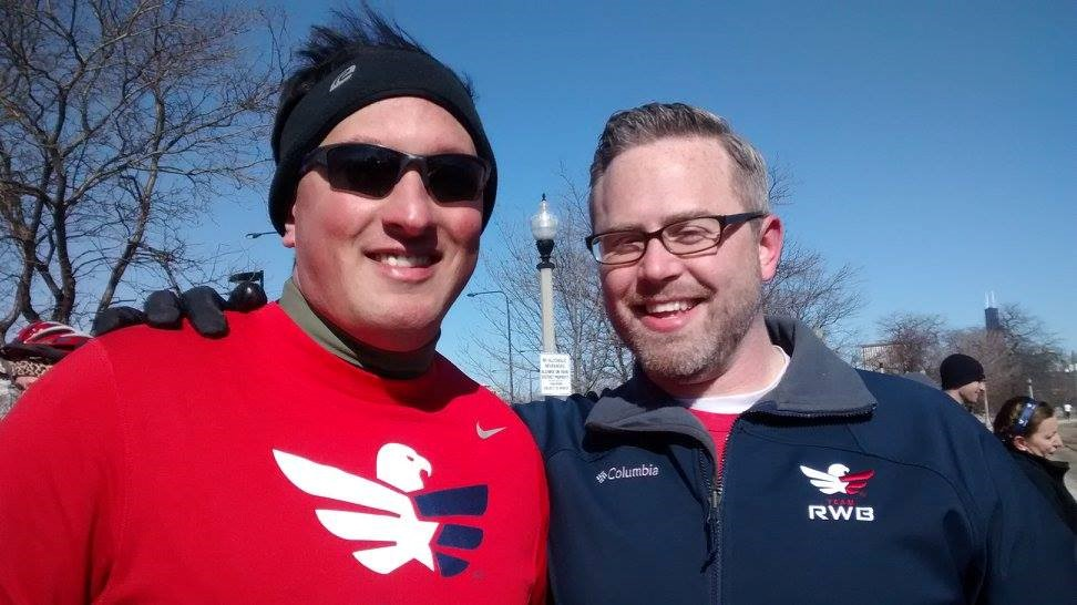 Mike Gorason (left) stands with Team RWB Midwest Regional Director, Zack Armstrong.