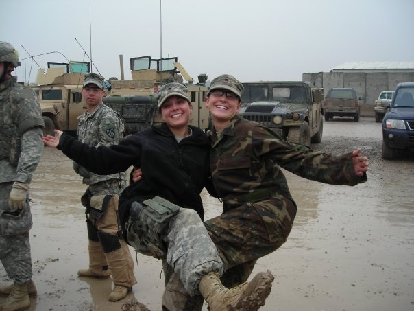 Ashly Moyer (left) and Margaux Mange met on Margaux's second yearlong deployment. Courtesy: Margaux Mange
