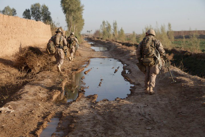 Members of  Bravo Company 1st Battalion 3rd Marines on patrol in Afghanistan. Courtesy: Dustin Jones