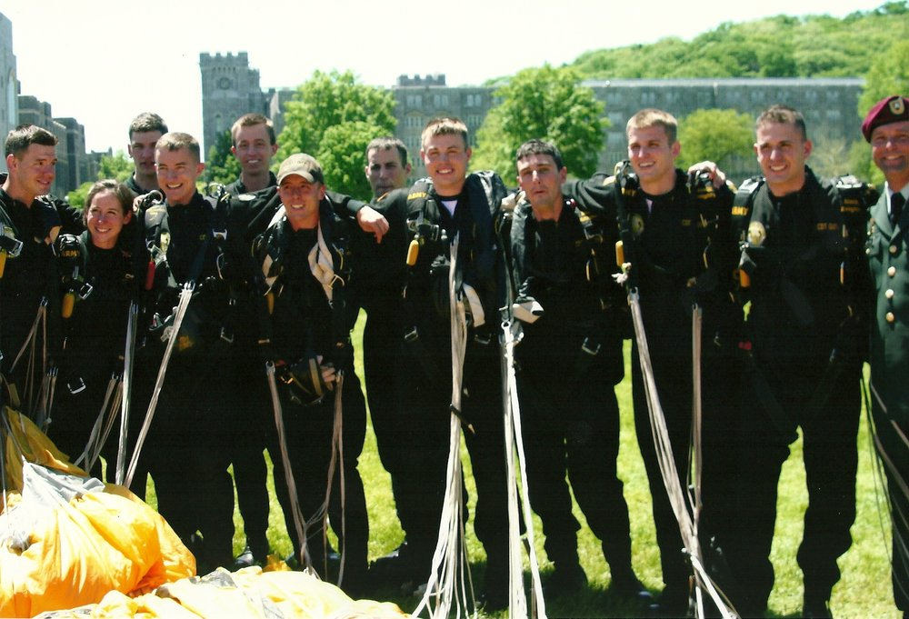 Donnelly (pictured here) after his last jump at West Point with some of his best friends. May 2009. Courtesy: Brian Donnelly