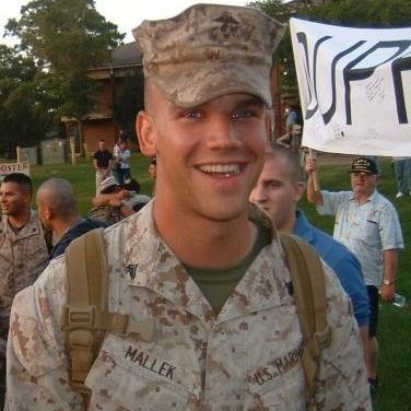 This photograph was taken just after Mallek got off the bus in North Carolina, coming home from Fallujah. Courtesy: Ryan Mallek