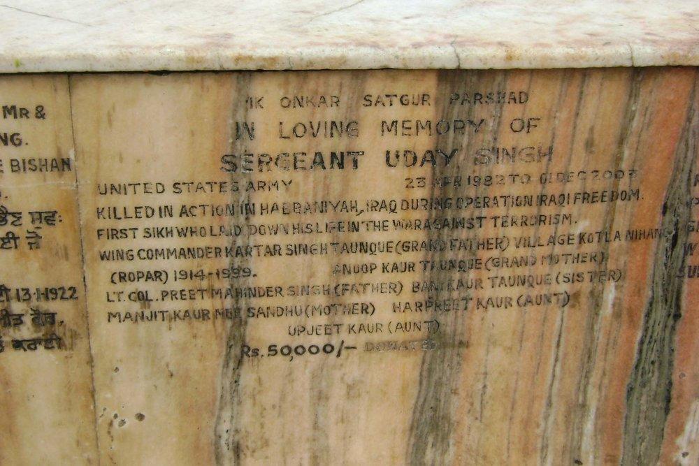 A plaque memorializing Sergeant Uday Singh, US Army, at the Golden Temple. Courtesy of Teresa Fazio