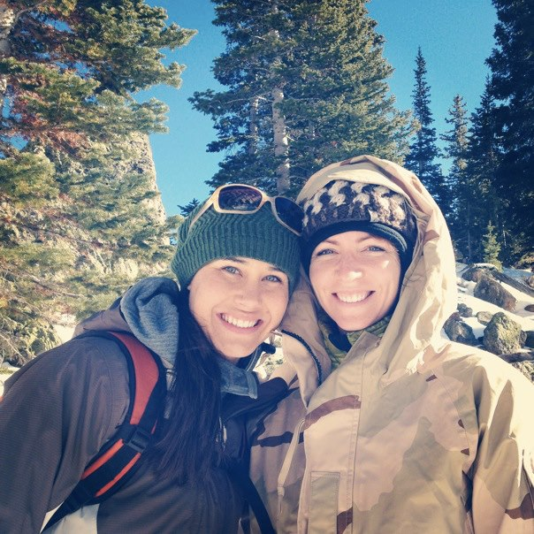 Elizabeth and Gina snowshoeing in the Rocky Mountains with Veterans Expeditions. Courtesy of Elizabeth O'Herrin