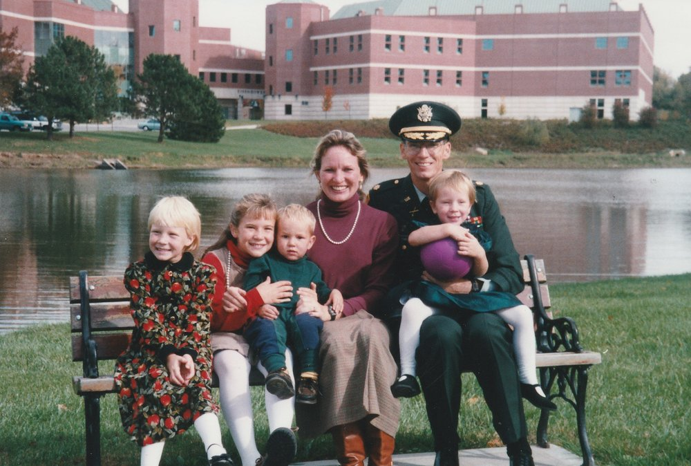 The Sims family at his promotion ceremony to Major in 1997 to Fort Leavenworth. Courtesy of John Sims.