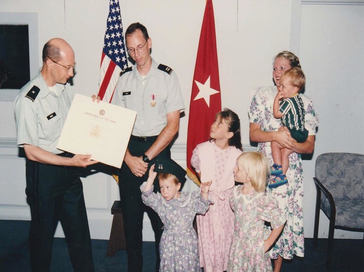 John Sims pictured here at Pentagon award ceremony in 1997 with his family Johnna, Annalisa, Marcella, Theresa, Billy. Courtesy of John Sims