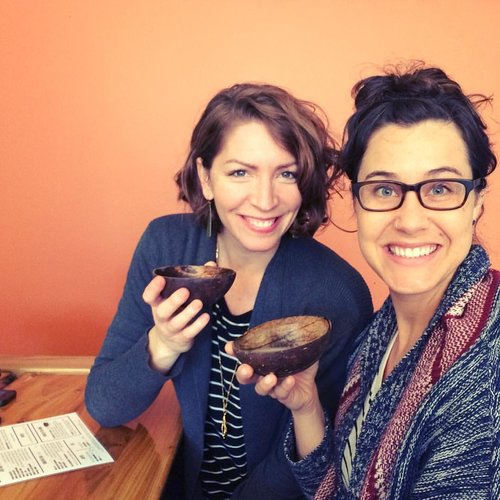 Elizabeth & Gina try kava, a traditional Western Pacific plant-based drink, in Chicago. Courtesy of Elizabeth O'Herrin