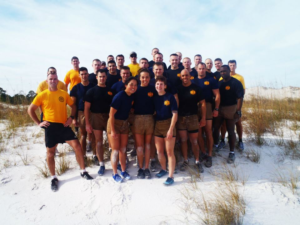Navy Dive School class pictured here, wearing their standard-issue khaki shorts. Courtesy of Tenley Lozano