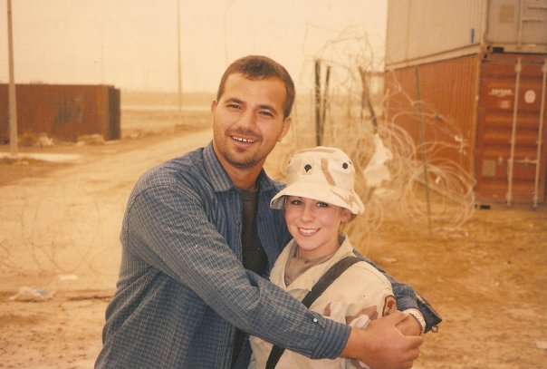 Lyndsey hugging Mohaned, her interpreter during her deployment to Camp Taji. Courtesy of Lyndsey Anderson