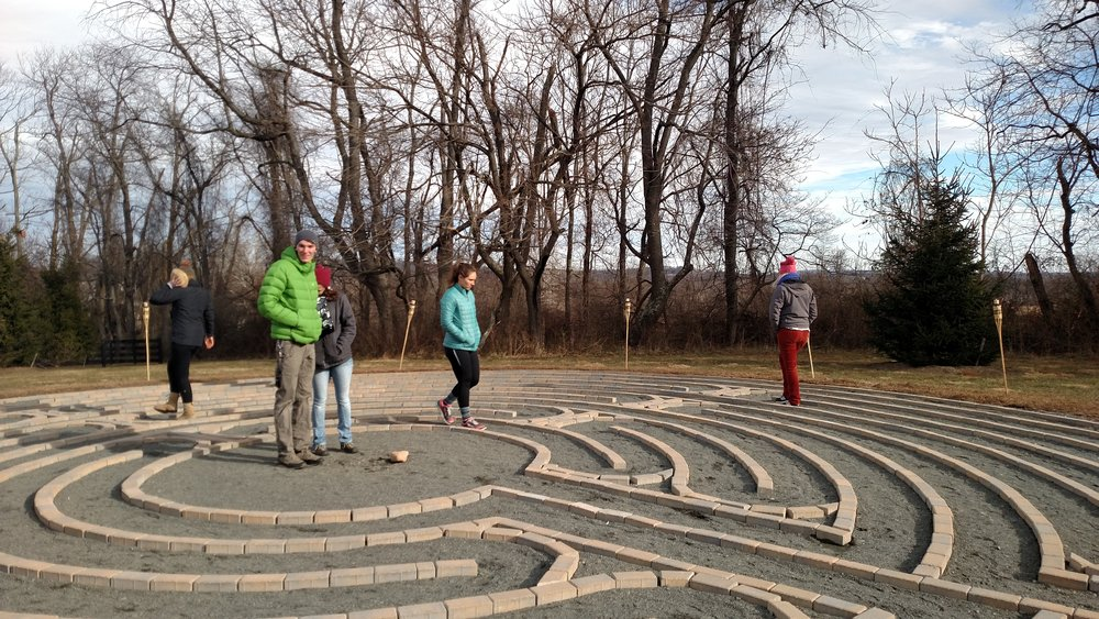 The labyrinth at Boulder Crest Retreat on New Year's Eve 2016. Courtesy of John Sims