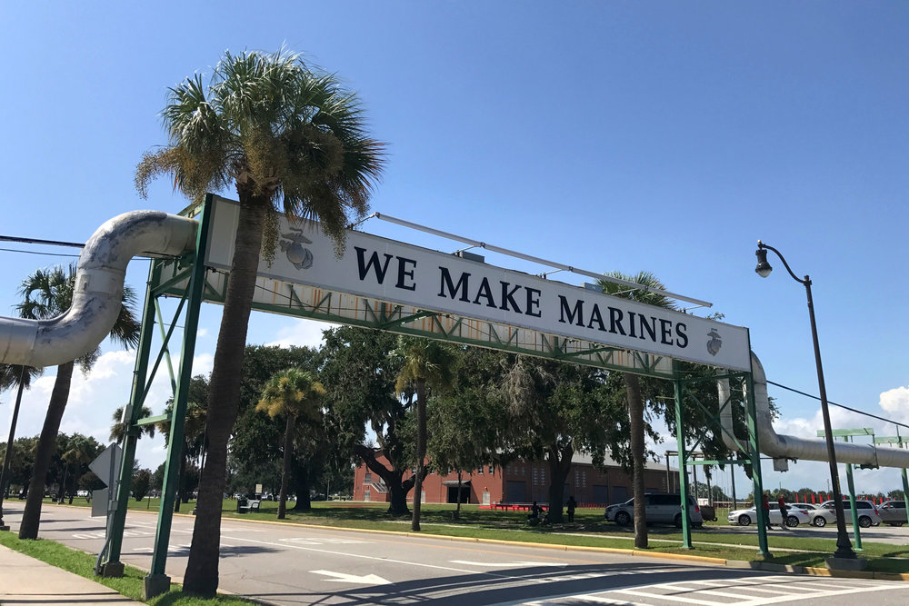 The iconic We Make Marines sign spans Boulevard de France aboard Parris Island, S.C. Courtesy of Joy Craig