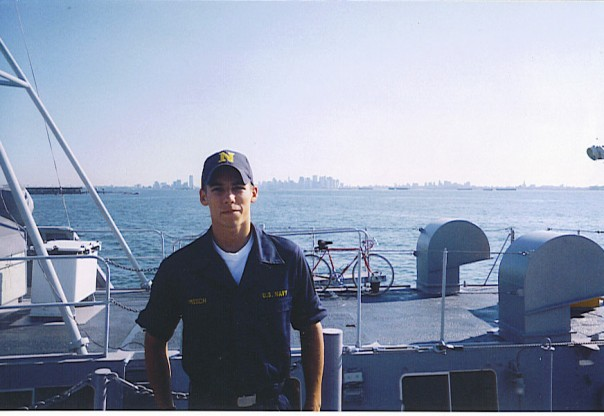 The author, Dan Misch, is photographed as a Midshipman on a Yard Patrol craft outside New York , N.Y. Courtesy of Dan Misch