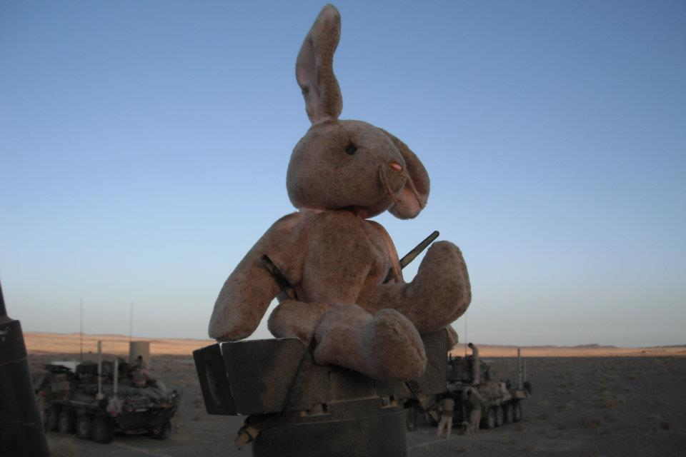 A good luck bunny talisman that rode on Peter Lucier's Light Armored Vehicle in Afghanistan. Courtesy of Peter Lucier
