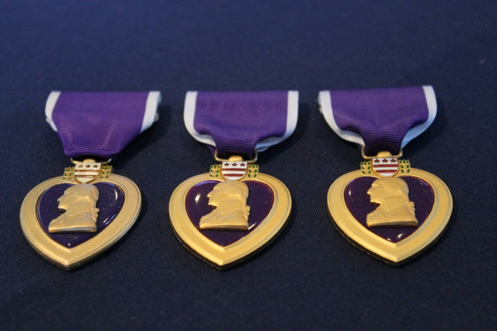 Examples of Purple Heart medals. Courtesy of Major Will Cox/Defense Video & Imagery Distribution System