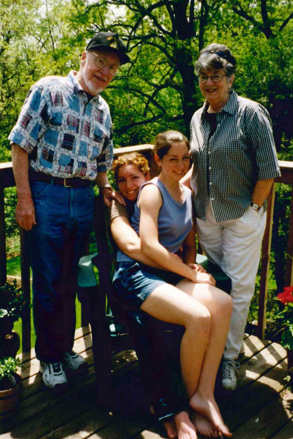 The author, Elizabeth O'Herrin, and her sister Colleen with her grandfather and grandmother in Wisconsin. Courtesy of Elizabeth O'Herrin