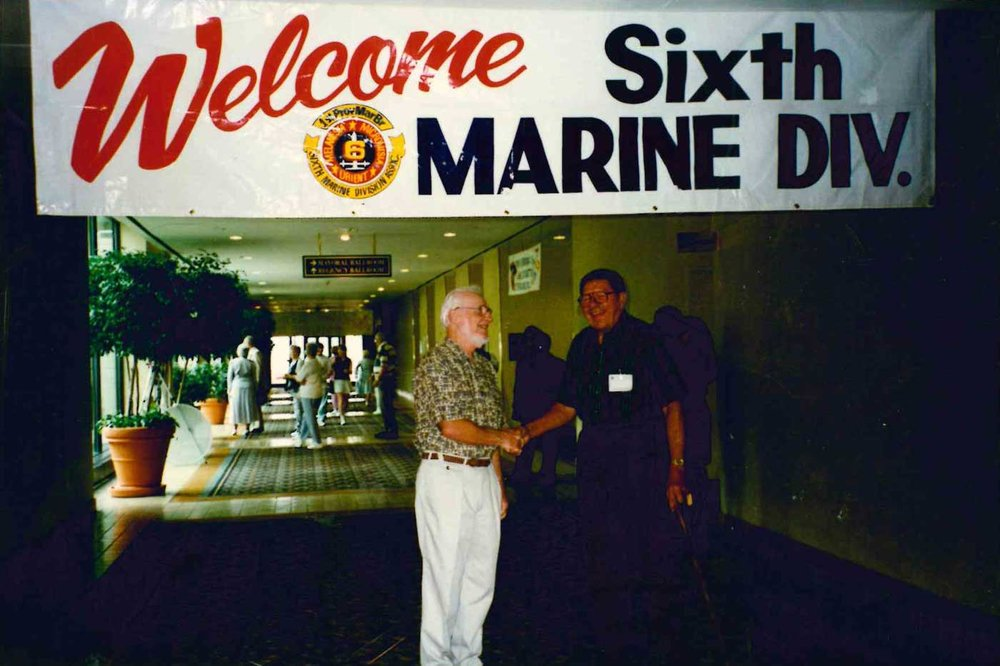 William O'Herrin, who served with the 22nd Marine Regiment on Eniwetok, Guadalcanal, and Guam, attends a 6th Marine Division reunion. Courtesy of Elizabeth O'Herrin