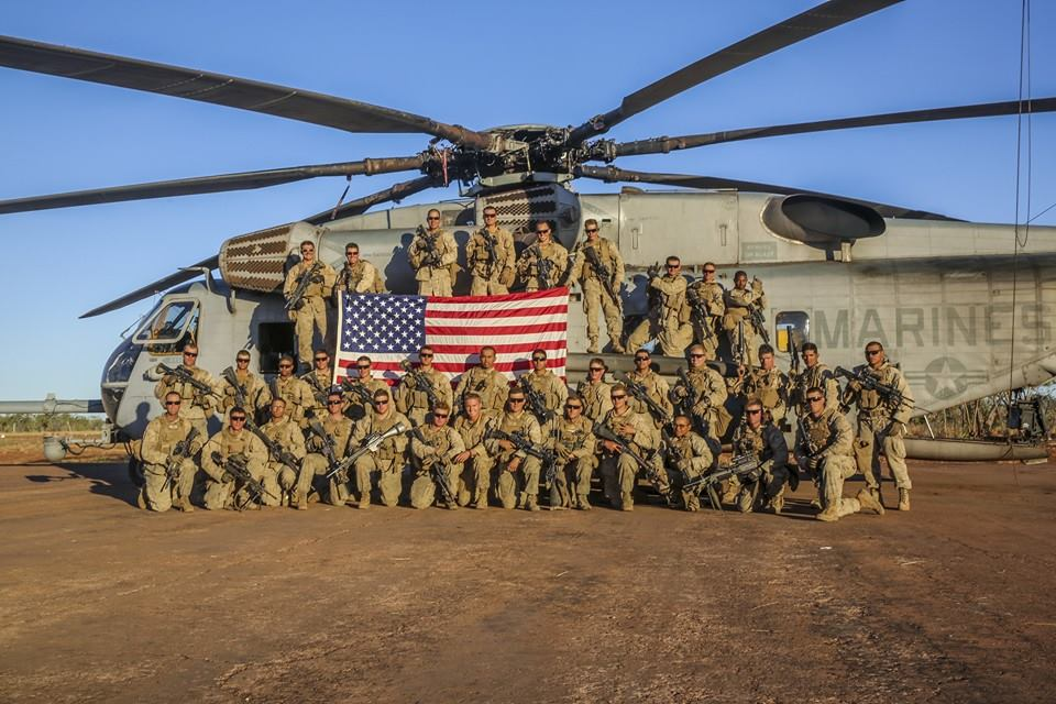Marines with Bravo Company, 1st Battalion, 5th Marine Regiment, Marine Rotational Force-Darwin, during Exercise Koolendong, August 2014. Courtesy of Scott Reel