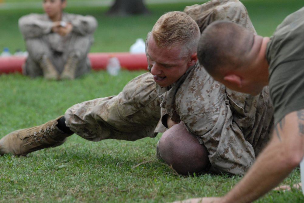Sgt. Scott Reel, former United States Marine Corps combat correspondent, participates in Marine Corps Martial Art Program training while at completing his Military Occupational Specialty school in Maryland. Courtesy of Scott Reel