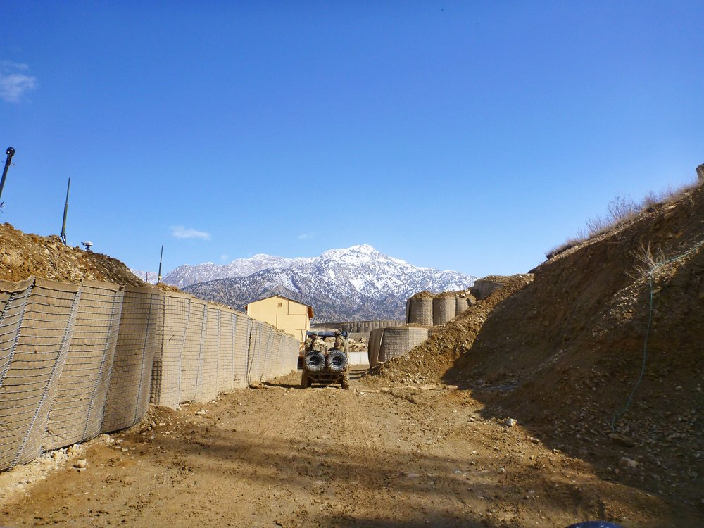 HESCO walls lining the Combat Outpost in eastern Afghanistan. Courtesy of Jackie Munn