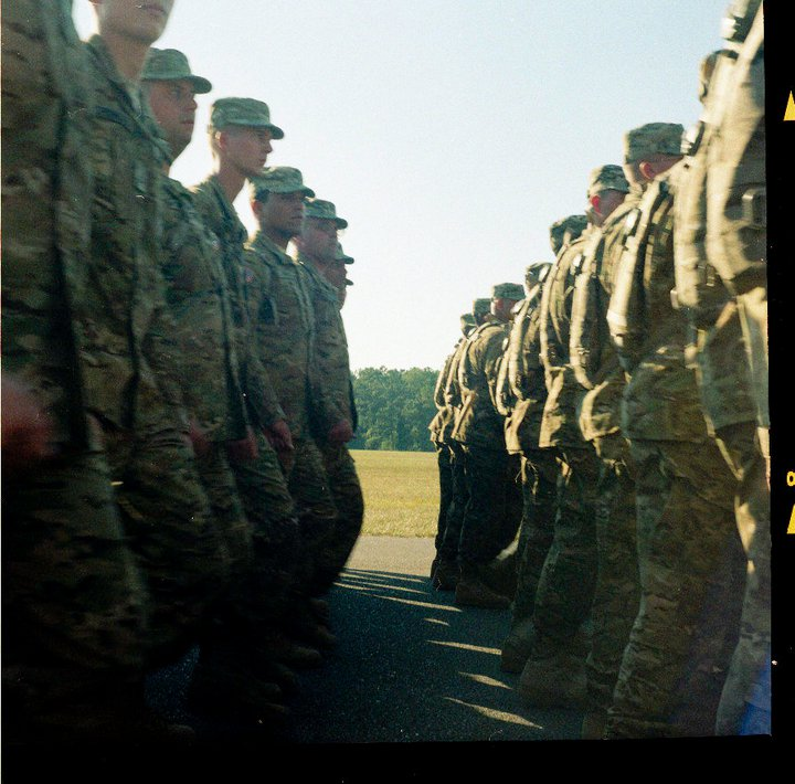 Soldiers of the Fourth Brigade Combat Team, Tenth Mountain Division, passing in review. Courtesy of Molly Pearl