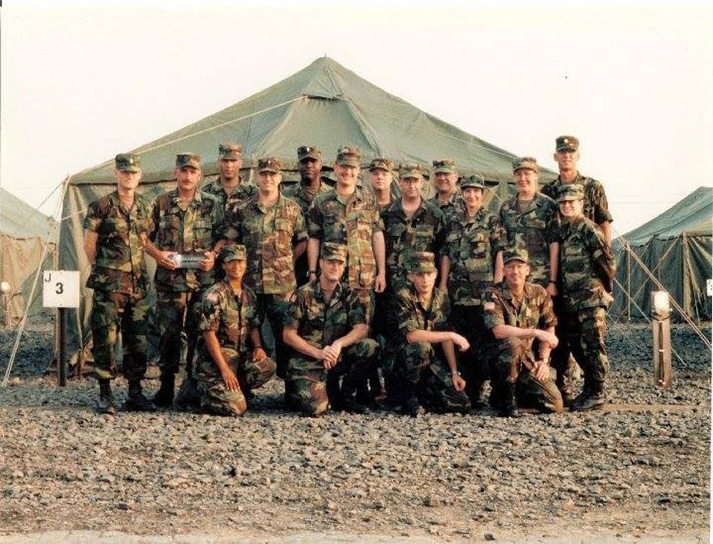 The 364th Mobile Public Affairs Detachment mobilized from Fort Snelling, Minnesota, for a nine-month peacekeeping mission in Bosnia-Herzegovina in Jan. 1997. This photo was taken at the end of their mission. Courtesy of Luis Iglesias
