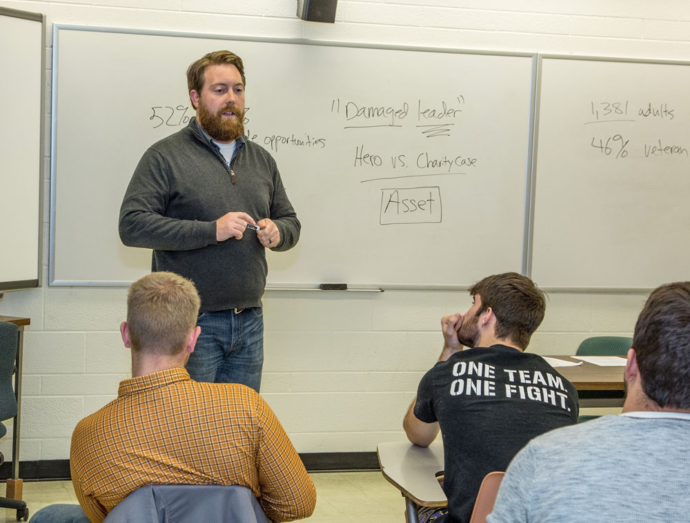 The author, David Chrisinger, teaches in his classroom at the University of Wisconsin-Stevens Point. Courtesy of David Chrisinger