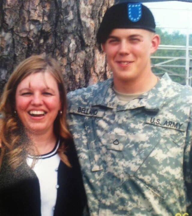 James Belland and his aunt, Pam Laughlin, who came to his graduation from Basic Training in 2007, post for a photo. Courtesy of Ashley Belland