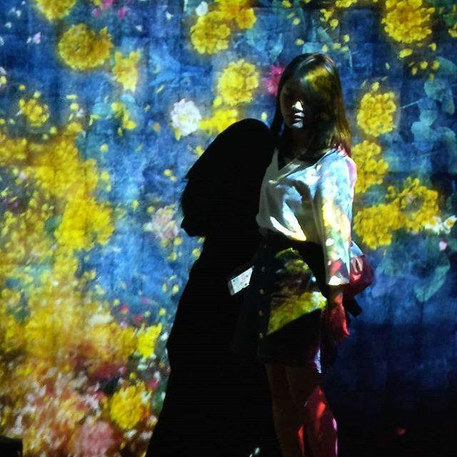 Tokyo, Museum of digital Arts, Koto City  #tokyo #japan #koto #japanese #digitalart #museumofdigitalart #museum #teamlabborderless #teamlab #projectionmapping #projection #animation #colors #asia #asiangirls #flowers #girl #interaction