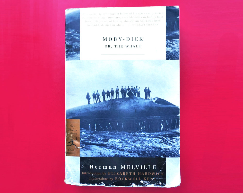 Here is my poor copy of Moby-Dick that got caught without an umbrella in the rain one time. Should've checked that forecast.
