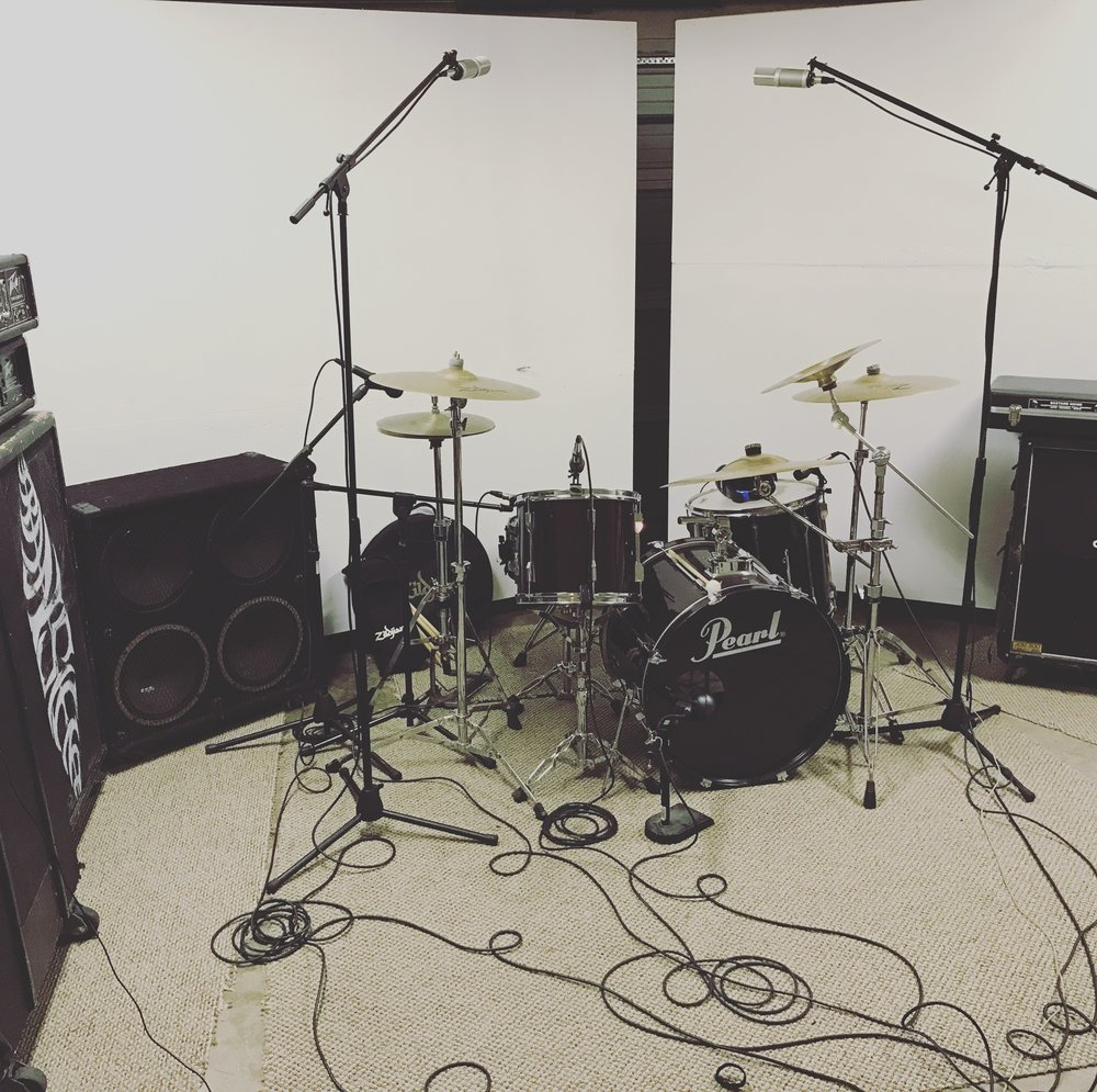 Recording Session for the band Ugly. This is our Pearl Export Series studio drum kit.