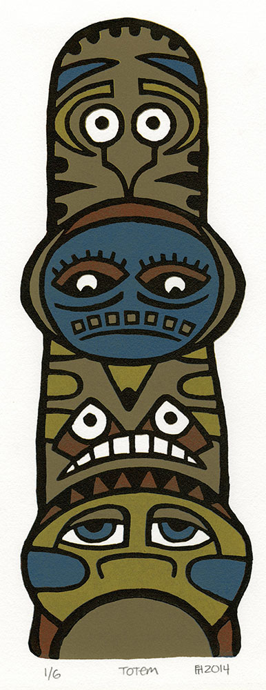 """Totem""  reduction woodcut, 12 x 4.5 inches (2014)"