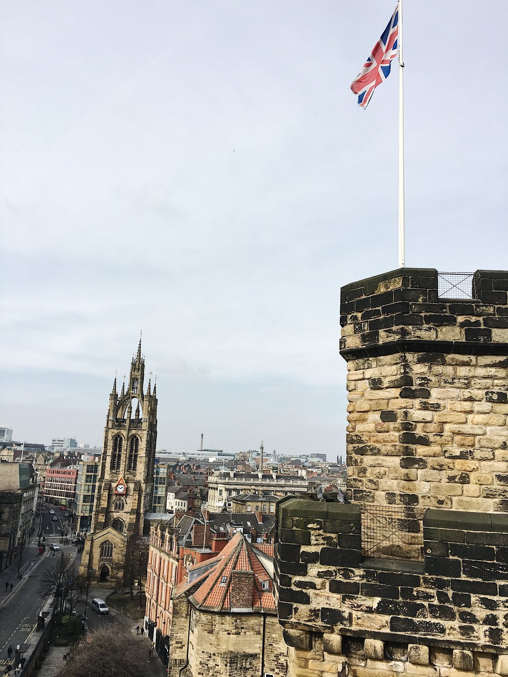 On top of Newcastle castle