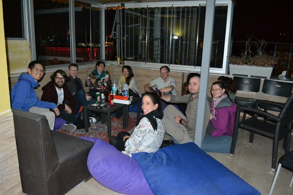 Hostel rooftop gathering every night! = meaning drinking lol