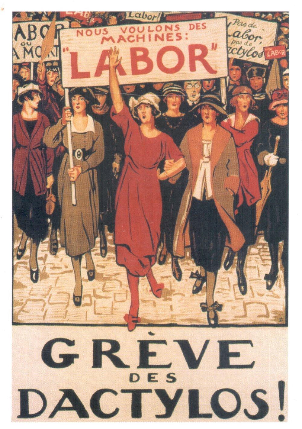Affichiste Anonyme, Greve des dactylos - 133 x 95cm, 1919. Publisher: Gilles Volle