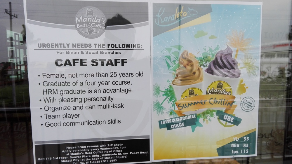 An unknowingly sexist and ageist job ad by Manila's Best Coffee