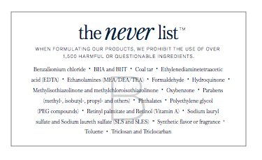 Beautycounter's NEVER List