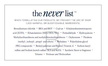 Beautycounter's NEVER List