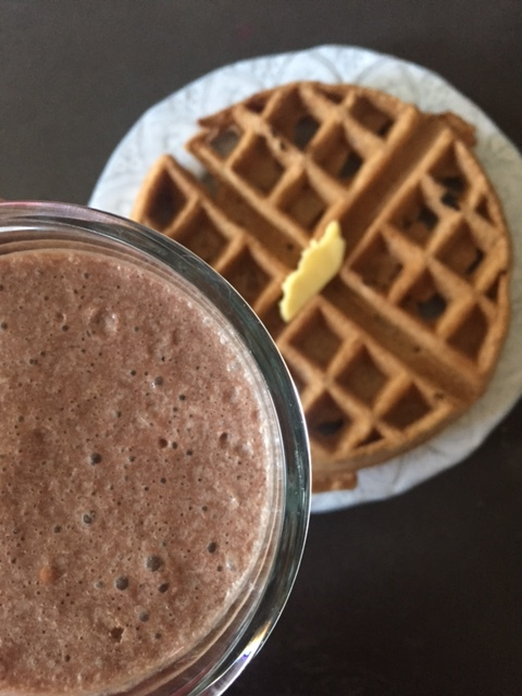 Chocolate smoothie and waffles