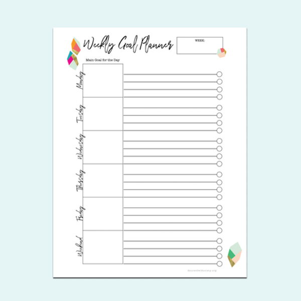 Weekly Goal Setting Planner   - A4 size    - US Letter size
