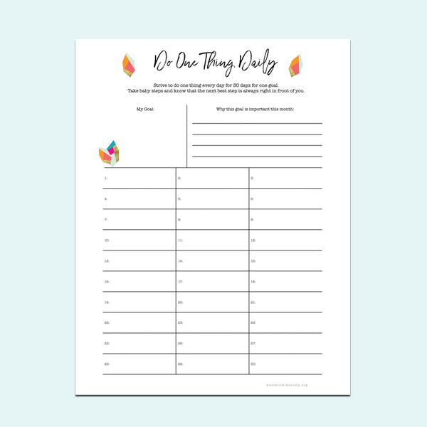 Do One Thing Daily   - A4 size    - US Letter size