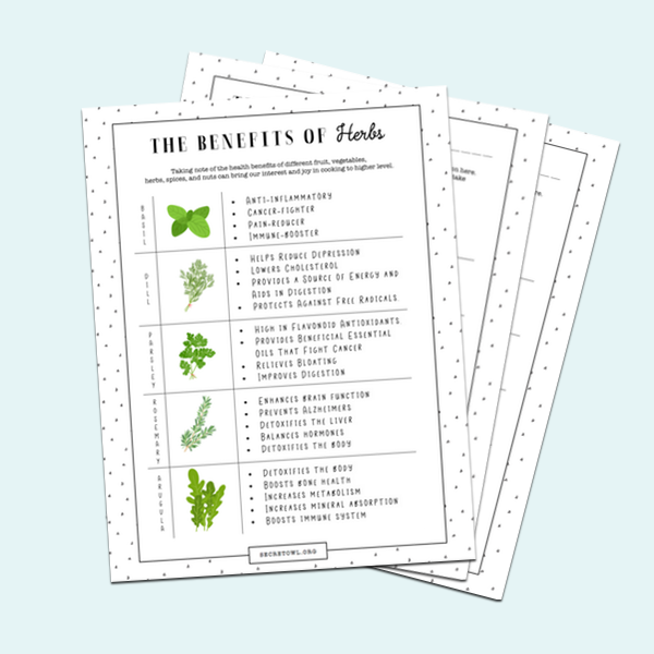 BENEFITS SPREADSHEET: Become more aware of the health benefits of different fruit, veggies, and herbs.     US LETTER SIZE >>      A4 SIZE >>