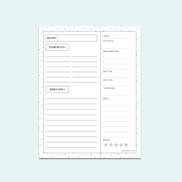 RECIPE CARD: Use this printable to record everything about your favorite recipe.     US LETTER SIZE >>      A4 SIZE >>