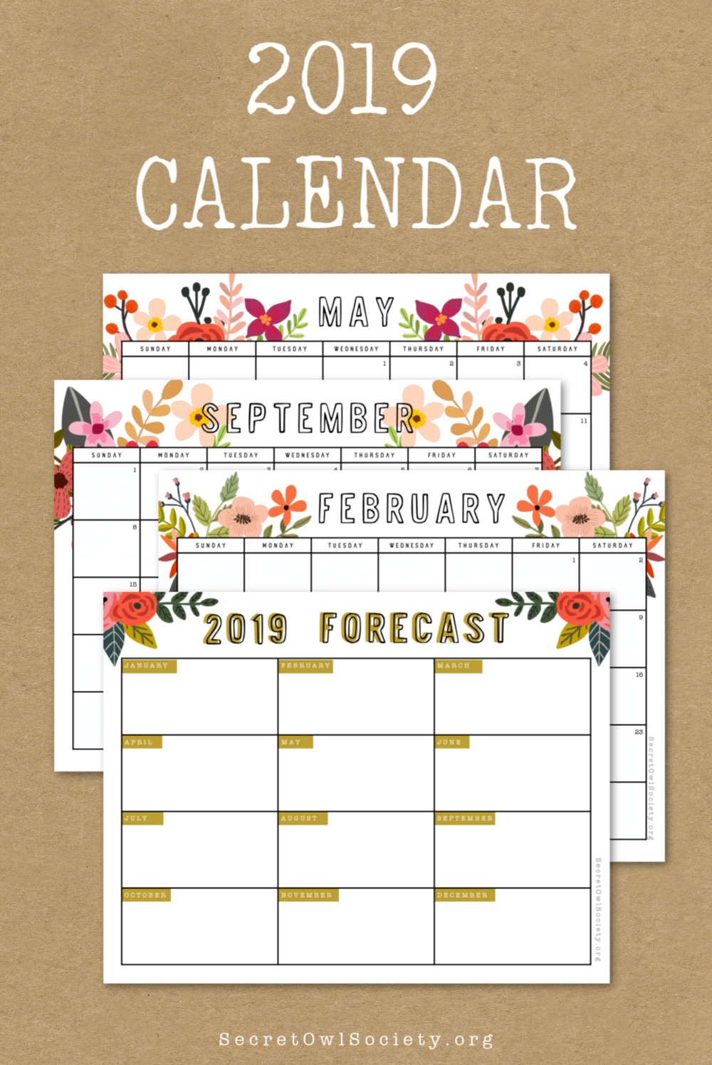 Pay what you want for this GORGEOUS 2019 Floral Calendar Printable!